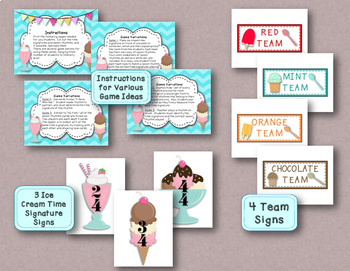 Time for Ice Cream! Time Signature Matching Game, Meter: 2, 3, & 4