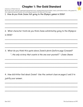 Time for Kids Biographies Jesse Owens Running into History Comprehension Packet