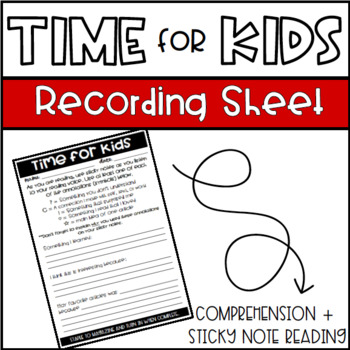 Time for Kids Sticky Note Reading & Recording Sheet