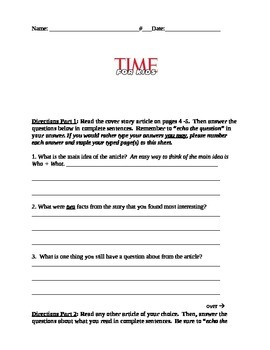 Time for Kids worksheet