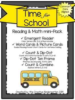 Time for School: Emergent Reader & Math mini-Pack {Common Core Aligned}