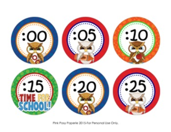 Time for School Owl Clock Numbers ** Free **