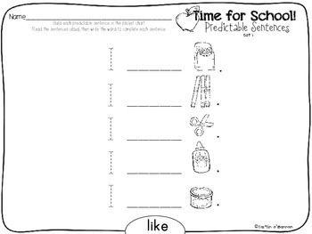 Time for School! {Predictable Sentence Builders for Little Learners}