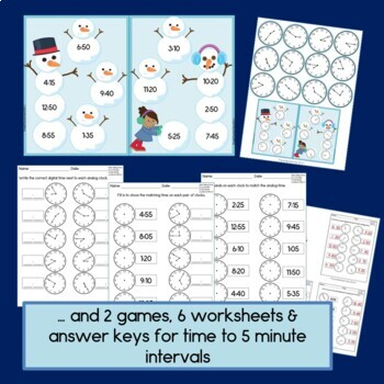 Time for Snow: Telling time to the nearest 5 minutes, 2nd grade math