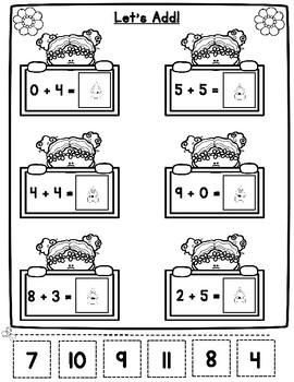 Spring Math Worksheets for Kindergarten and First Grade
