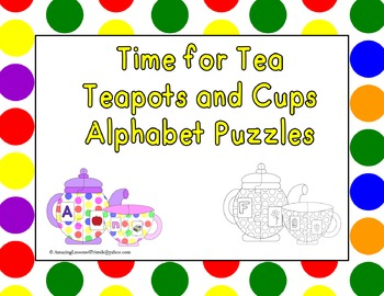 Time for Tea Teapots and Cups Alphabet Puzzles