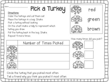 Time for Turkey - Literacy and Math Centers for Kinder