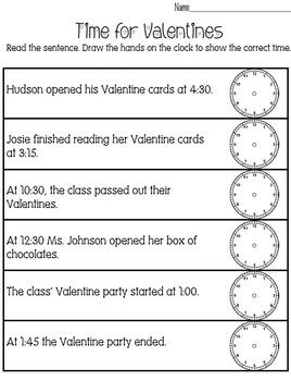time for valentines a time telling worksheet by whitney venkatachalam. Black Bedroom Furniture Sets. Home Design Ideas