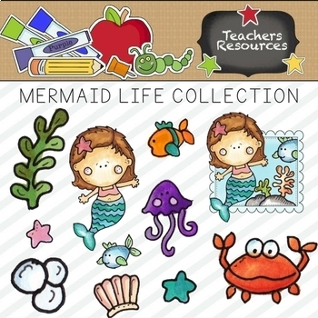 Mermaid Life Clipart Collection || Commercial Use Allowed