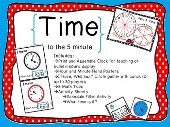 Time {for math tubs} Activities to practice time to the 5 minutes