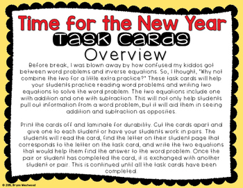 Addition & Subtraction Word Problem Task Cards with a New Year's Theme
