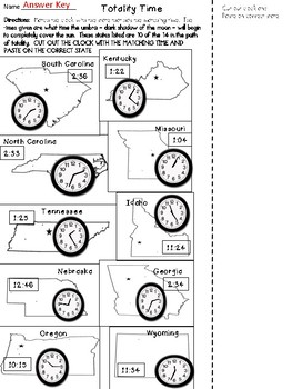 Solar Eclipse 2017 - Telling Time to the Nearest Minute