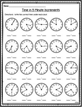 Time in 5 Minute Increments