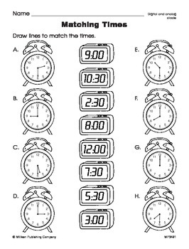 Time in Hours and Half Hours (CCSS 1.MD.B.3)