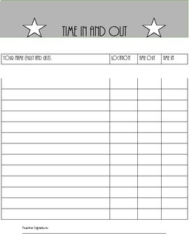 Time in and Out Sheet