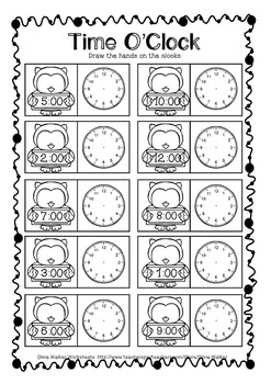 O\'clock and Half Past, Worksheets, Printables, Digital, Analogue