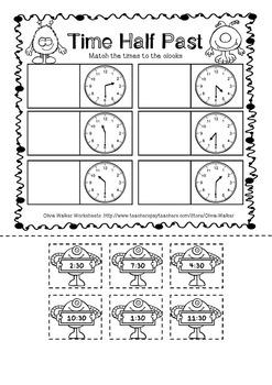 time o 39 clock and half past worksheets printables digital analogue. Black Bedroom Furniture Sets. Home Design Ideas