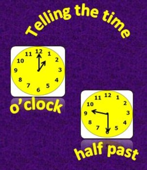 Time in hours and half-hours (analog and digital).