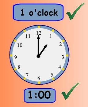 Telling time to the hour and half hour.