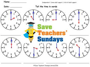 Time in Words Lesson Plans, Worksheets and More - CCSS 1.MD.3 and 2.MD.7