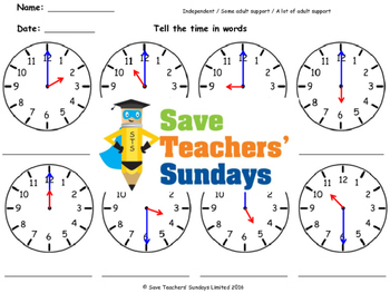 Time in Words Worksheets (4 levels of difficulty) - CCSS 1.MD.3 and 2.MD.7