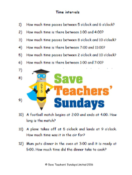 Time intervals lesson plans, worksheets and more