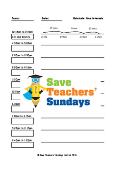 Elapsed time / Time intervals worksheets (3 levels of difficulty)