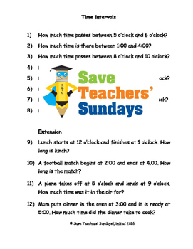 Time intervals worksheets (4 levels of difficulty)