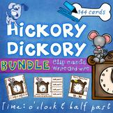 Hickory Dickory Time O'clock Half Past Clip Cards & Write