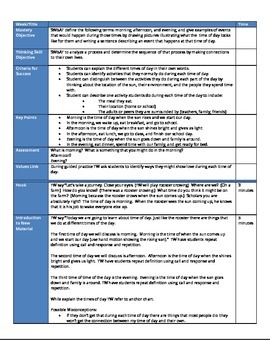 Time of Day Lesson Plan and Materials