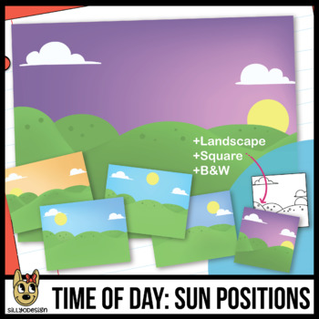 Time of Day, Sun Positions Background Scenes Clip Art/Digital Paper