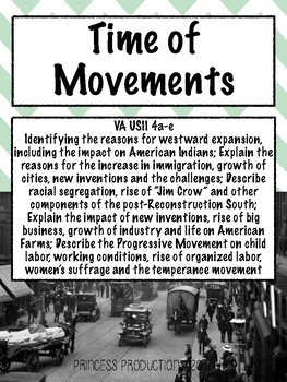 Time of Movements - US History 1865 to Present Cornell Notes