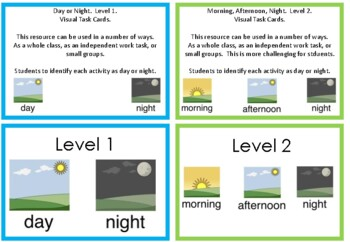 Time of day task cards.