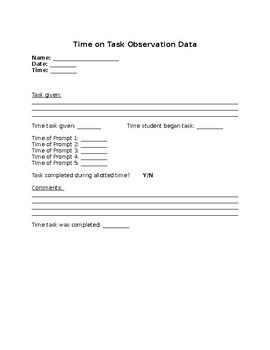 Time on Task Observation Sheet