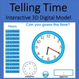 Telling Time 3D Model Interactive Clock - Digital and Analog Distance Learning