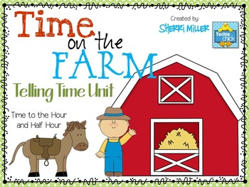 Time on the Farm Task Cards and Printables: Telling Time to the Half Hour