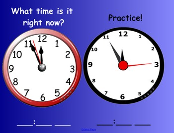 Time practice SMART Board notebook page