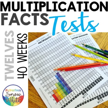 Multiplication Facts Tests Quizzes for Growth Mindset: 12s