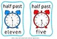 Time scoot game and flash cards for half past(50 % off for 48 hours)