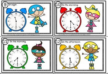 Time scoot game and flash cards for half past
