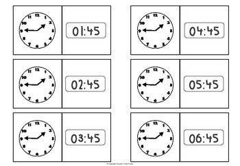 Time - tell the time dominoes - quarter to
