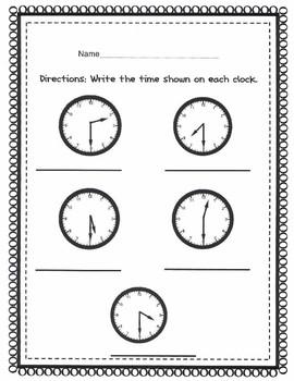 Time to 1/2 hour Analog Clocks