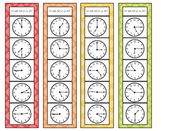 Time to 15-Minute Intervals Clip Cards