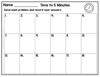 Time to 5 Minutes Task Cards