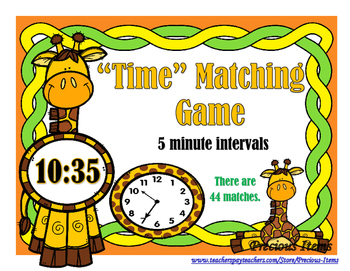 Time to 5 minutes Matching Game - Giraffes