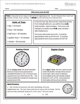 Time to Five Minutes & Time to the Nearest Minute pgs. 5 - 8 (CCSS)