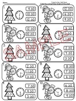 Time to Half Hour Christmas Theme Print and Go! Common Core