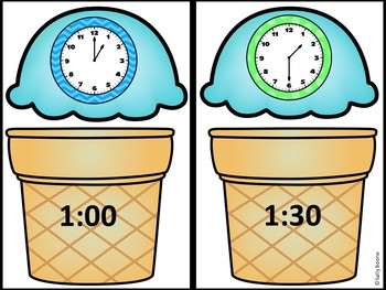 Time to Hour and Half Hour-Math Center with Worksheets