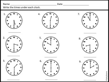 Telling Time to Hour and Half Hour-Math Center Worksheets
