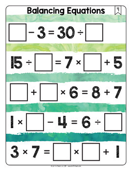 Math Tiles: Balancing Equations Math Centers